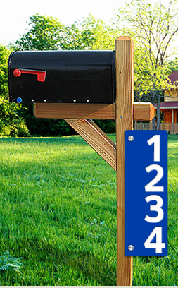 Post the blue reflective address sign at the head of your driveway